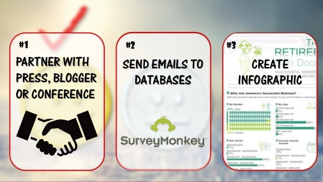 PARTNER WITH PRESS, BLOGGER OR CONFERENCE SEND EMAILS TO DATABASESCREATE INFOGRAPHIC  #1  #2  #3
