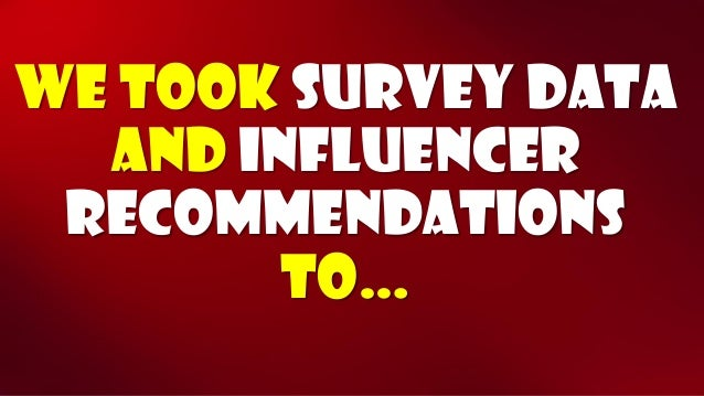 We took survey data and influencer recommendations to…