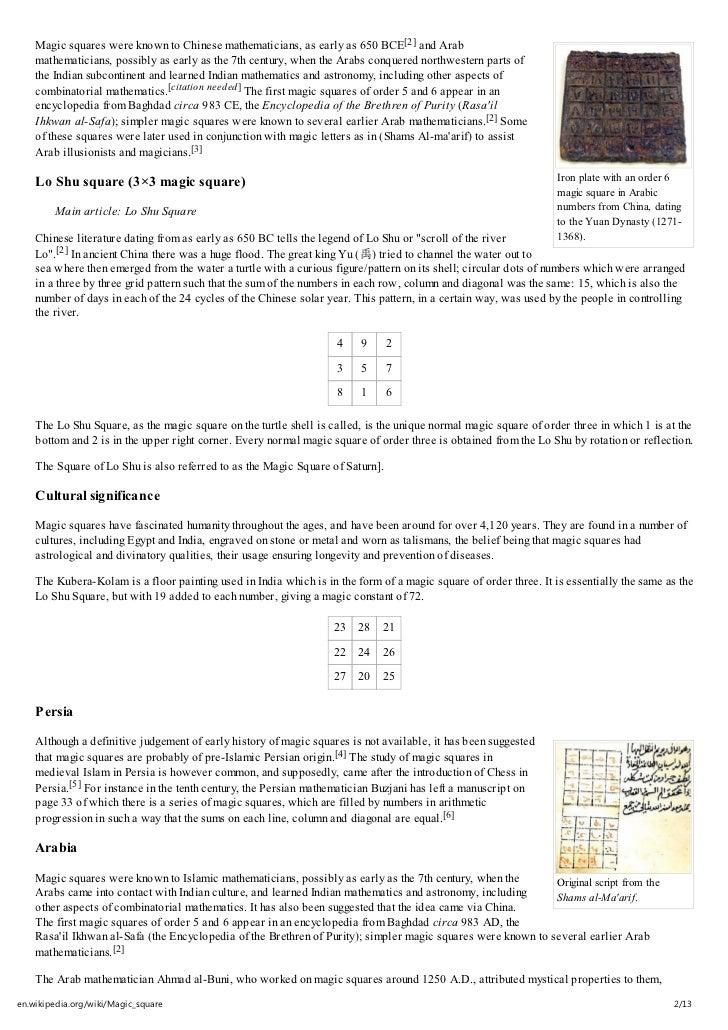 Magic square wikipedia, the free encyclopedia