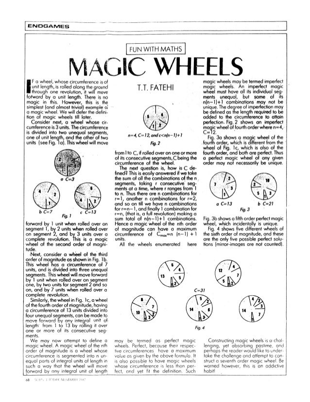 LEivi_3G. o:ivilEslT  l FUN WITH MATHS l     M/ iClC WHEELS  F a wheel,  whose circumference is of unit length,  is rolled...