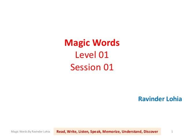 Magic Words                                      Level 01                                     Session 01                  ...