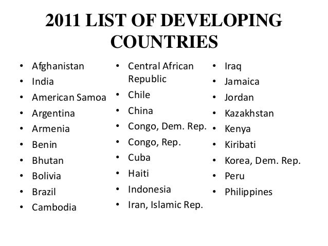 Problems Of The Third World Countries - List of underdeveloped countries