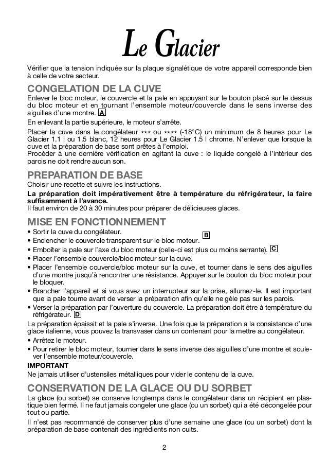 MAGIMIX Le Glacier Sorbetière Mode d'emploi - NOTICE