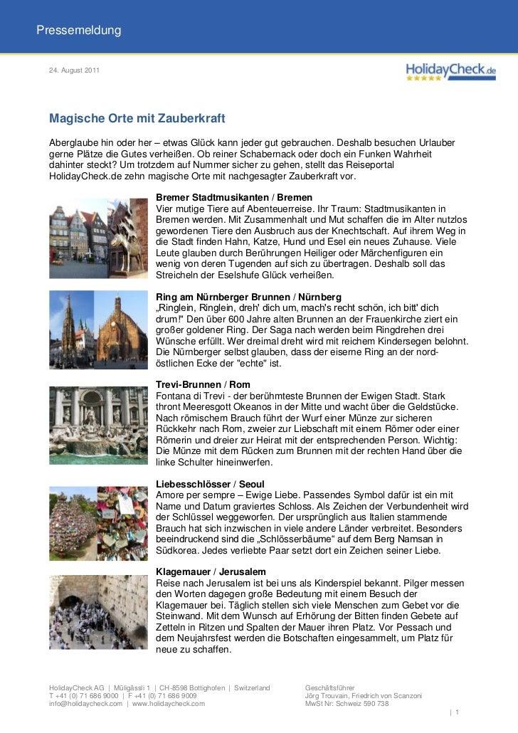Pressemeldung 24. August 2011 Magische Orte mit Zauberkraft Aberglaube hin oder her – etwas Glück kann jeder gut gebrauche...