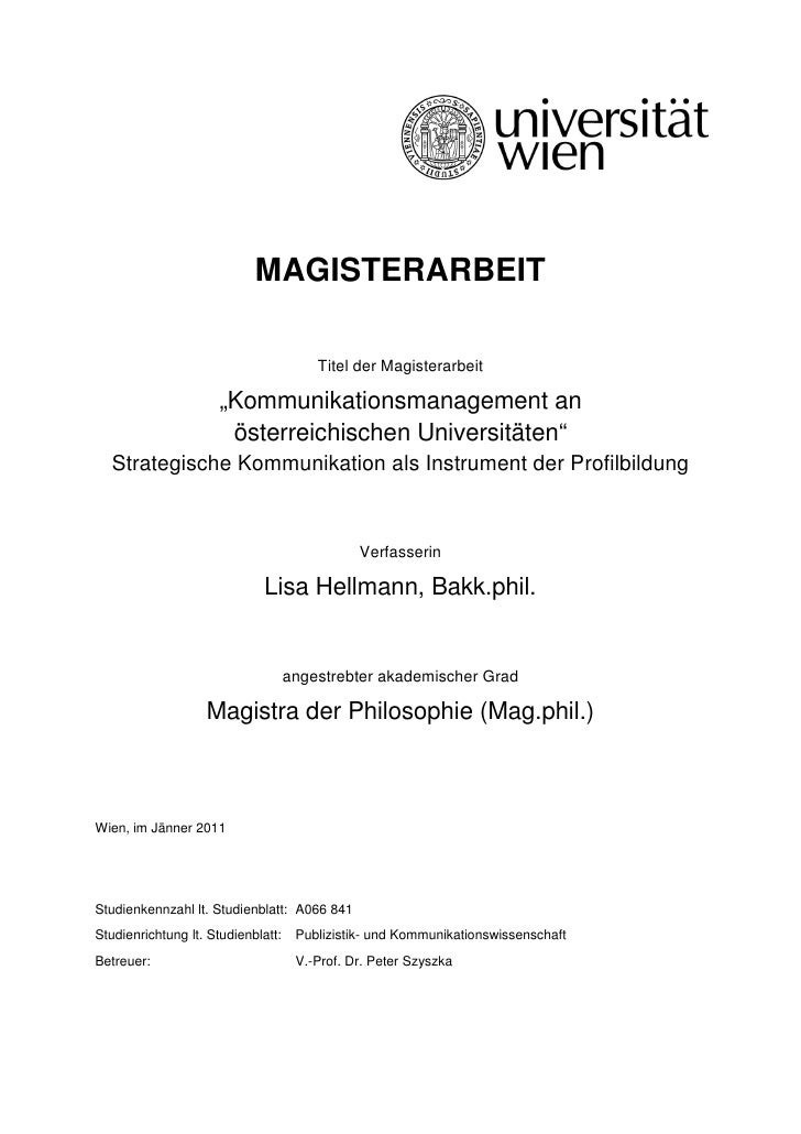 "MAGISTERARBEIT                                        Titel der Magisterarbeit                      ""Kommunikationsmanagem..."