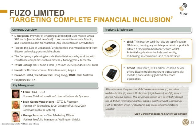 Products & Technology Key Management Company Overview FUZO LIMITED 'TARGETING COMPLETE FINANCIAL INCLUSION' 53  Descripti...