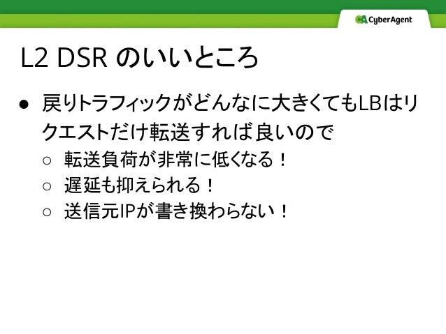 ● 戻りトラフィックがどんなに大きくてもLBはリ クエストだけ転送すれば良いので ○ 転送負荷が非常に低くなる! ○ 遅延も抑えられる! ○ 送信元IPが書き換わらない! L2 DSR のいいところ