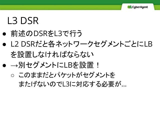 L3 DSR ● 前述のDSRをL3で行う ● L2 DSRだと各ネットワークセグメントごとにLB を設置しなければならない ● →別セグメントにLBを設置! ○ このままだとパケットがセグメントを またげないのでL3に対応する必要が…