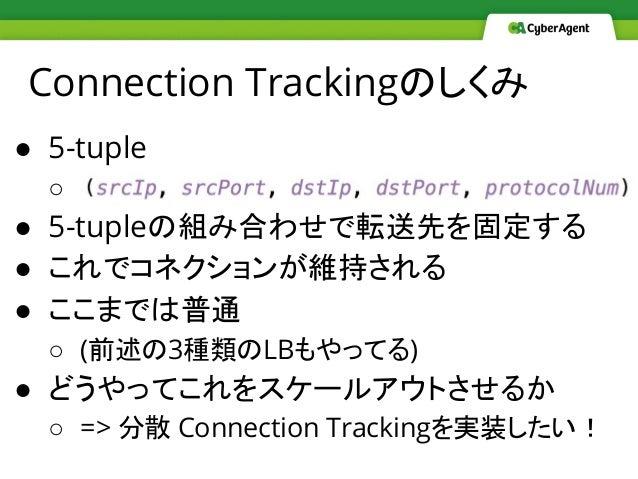 Connection Trackingのしくみ ● 5-tuple ○   ● 5-tupleの組み合わせで転送先を固定する ● これでコネクションが維持される ● ここまでは普通 ○ (前述の3種類のLBもやってる) ● どうやってこれをスケ...