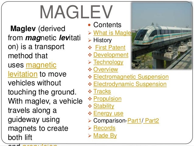 Science project on Maglev Trains By Ardhendu