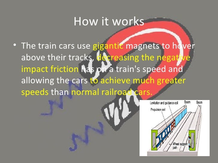 how maglev trains works How maglev trains work foundations of technology directions: as you read through the article, answer the questions below  if maglev trains do not use fossil fuels, explain how the train is propelled what is a guideway how high does the train levitate above the guideway what is the maglev's ground transportation speed _____how can it.