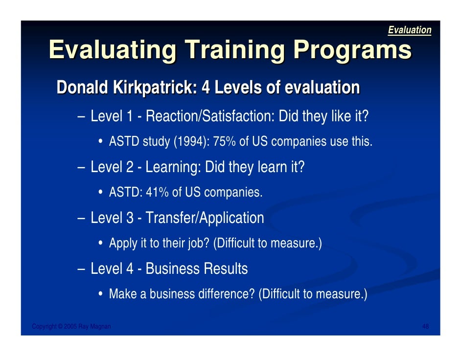 learning effectiveness evaluation using donald kirkpatricks It discusses the advantages and disadvantages of donald l kirkpatrick's four-level framework (1998) for evaluating the effectiveness of training programmes, before drawing conclusions about its relevance in today's economic environment.