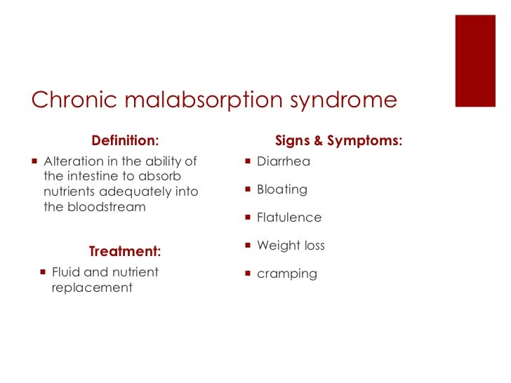 ... 9. Chronic Malabsorption Syndrome Definition: ...