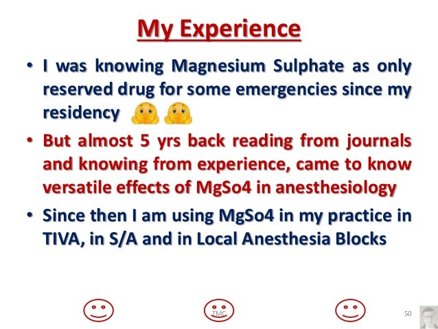 Magnesium sulphate and anesthesiologist