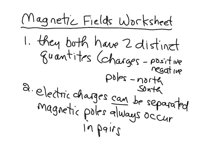 Magnetic Fields Worksheet