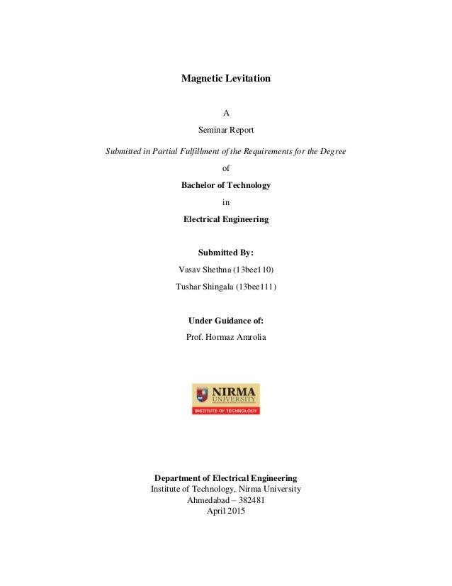 Magnetic levitation report