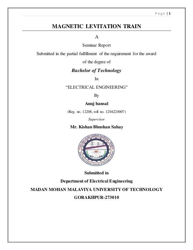 A seminar report on maglev train