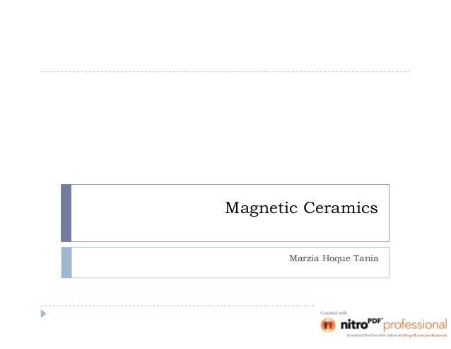 Magnetic Ceramics Marzia Hoque Tania