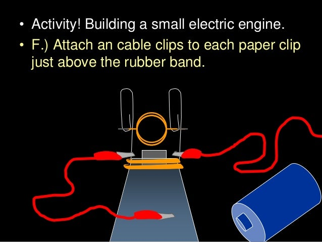 • Activity! Building a small electric engine. • F.) Attach an cable clips to each paper clip just above the rubber band.