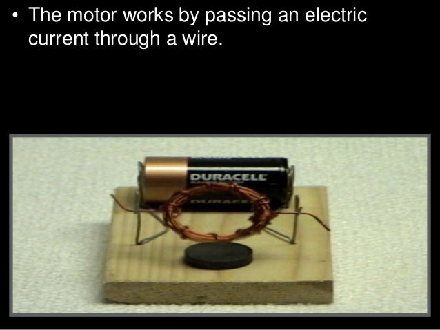 • Activity! Building a small electric engine. • B.) Strip both ends of the wire coil leads. Hold the coil vertically and c...
