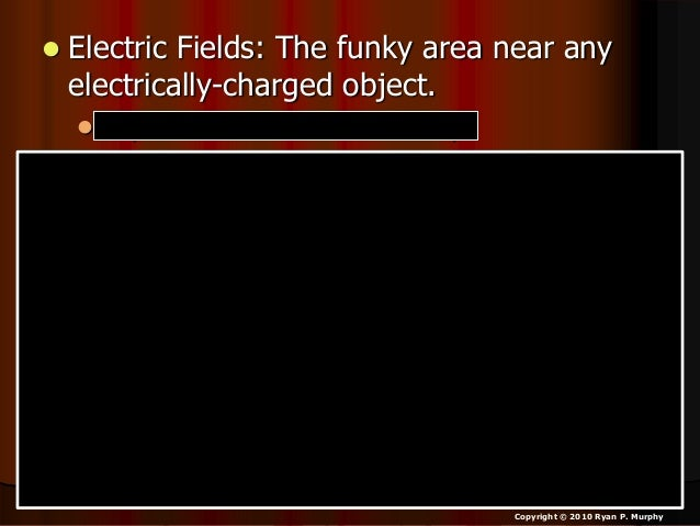  Electric Fields: The funky area near any electrically-charged object.  Replace electrostatic for funky. Copyright © 201...