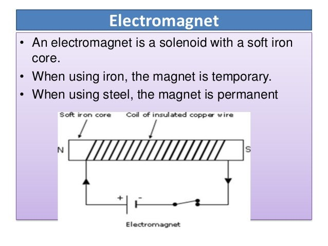 The strength of an electromagnet depends on: Number of turns in its coils & Amount of current passing through the coil USE...