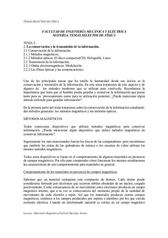 TEMAS SELECTOS DE FÍSICA               FACULTAD DE I GE IERÍA MECÁ ICA Y ELÉCTRICA                    MATERIA: TEMAS SELEC...