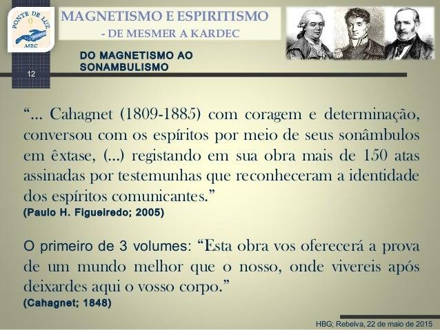 """HBG; Rebelva, 22 de maio de 2015 MAGNETISMO E ESPIRITISMO - DE MESMER A KARDEC 12 """"… Cahagnet (1809-1885) com coragem e de..."""