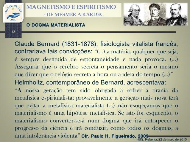 HBG; Rebelva, 22 de maio de 2015 MAGNETISMO E ESPIRITISMO - DE MESMER A KARDEC 18 Claude Bernard (1831-1878), fisiologista...