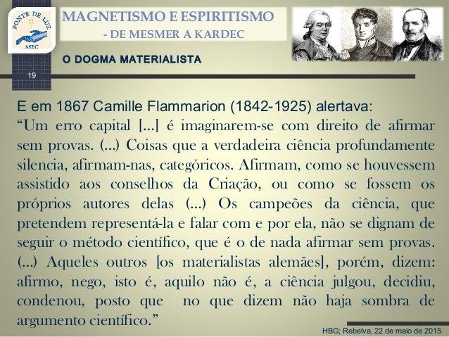 HBG; Rebelva, 22 de maio de 2015 MAGNETISMO E ESPIRITISMO - DE MESMER A KARDEC 19 E em 1867 Camille Flammarion (1842-1925)...