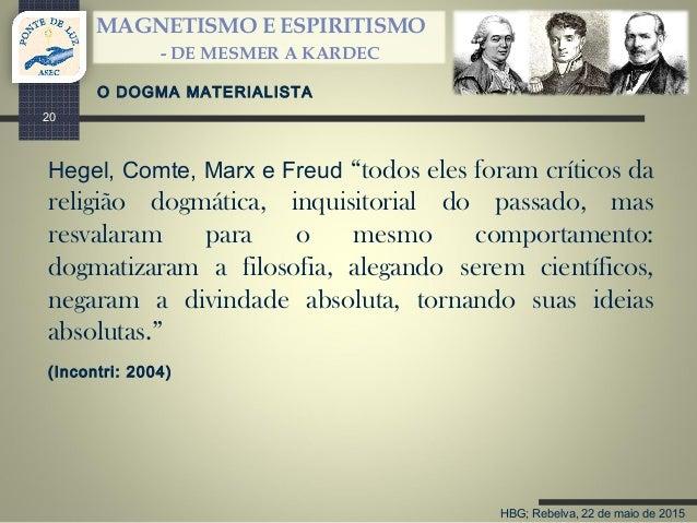"""HBG; Rebelva, 22 de maio de 2015 MAGNETISMO E ESPIRITISMO - DE MESMER A KARDEC 20 Hegel, Comte, Marx e Freud """"todos eles f..."""