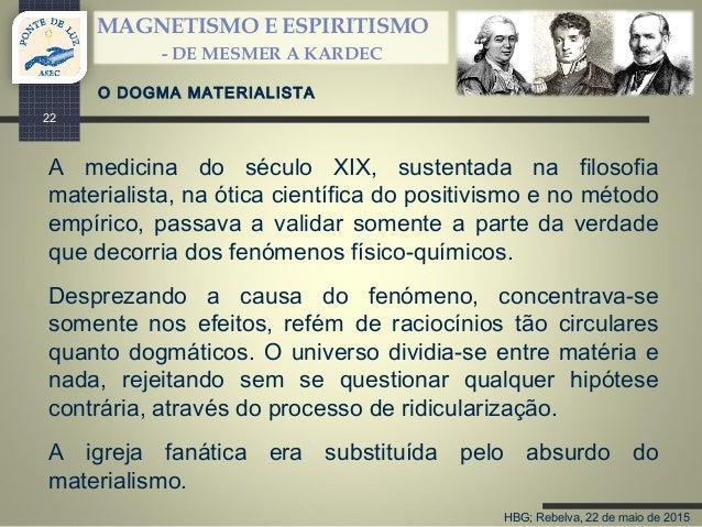 HBG; Rebelva, 22 de maio de 2015 MAGNETISMO E ESPIRITISMO - DE MESMER A KARDEC 22 A medicina do século XIX, sustentada na ...