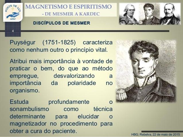 HBG; Rebelva, 22 de maio de 2015 MAGNETISMO E ESPIRITISMO - DE MESMER A KARDEC 4 DISCÍPULOS DE MESMER Puységur (1751-1825)...