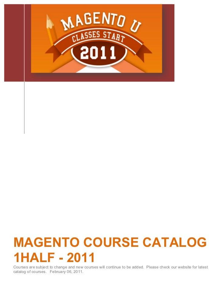 Magneto U Course Descriptions