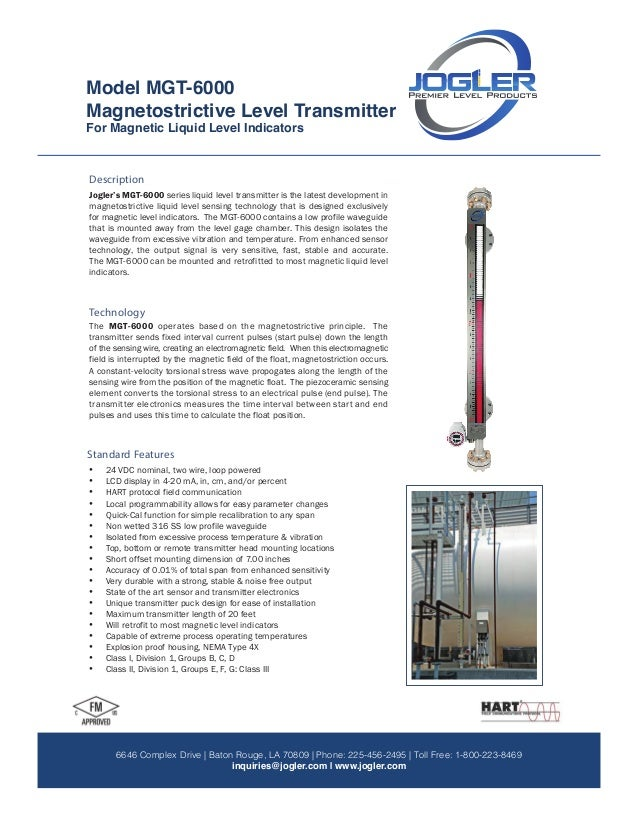 Magnetostrictive Level Transmitter Model: MGT-6000 MGT-6000 For Magnetic Liquid Level Indicators 9 7 1 5 D e r r i n g t o...