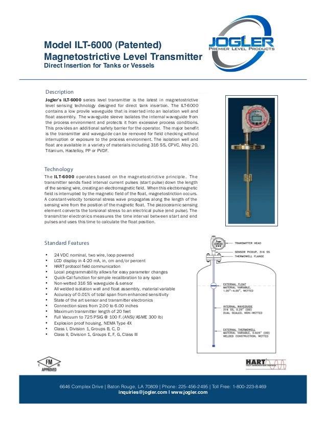 Magnetostrictive Level Transmitter Model: ILT-6000 (Patented) ILT-6000 Direct Insertion for Tanks or Vessels 9 7 1 5 D e r...