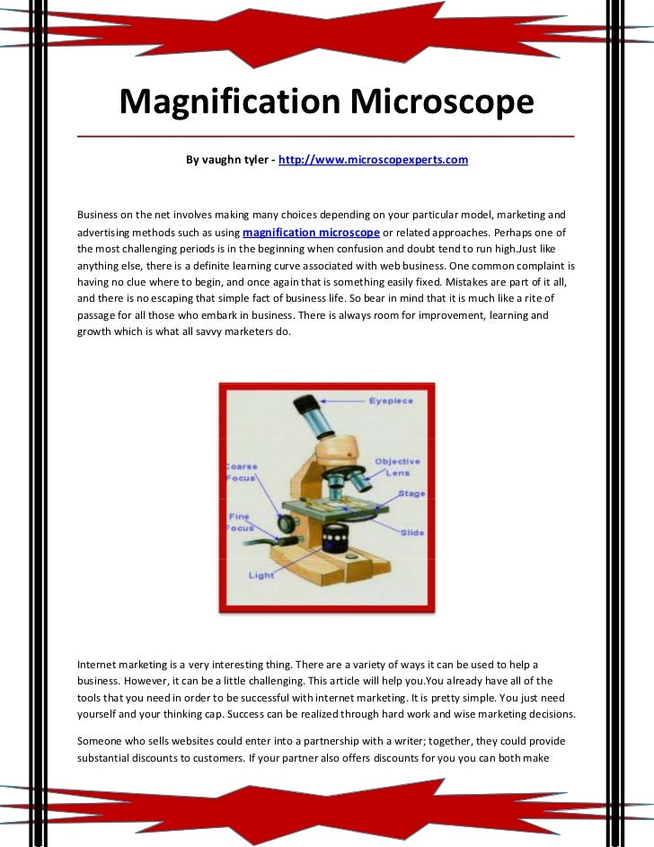 Magnification Microscope_____________________________________________________________________________________             ...