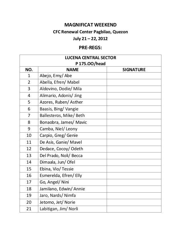 MAGNIFICAT WEEKEND            CFC Renewal Center Pagbilao, Quezon                     July 21 – 22, 2012                  ...