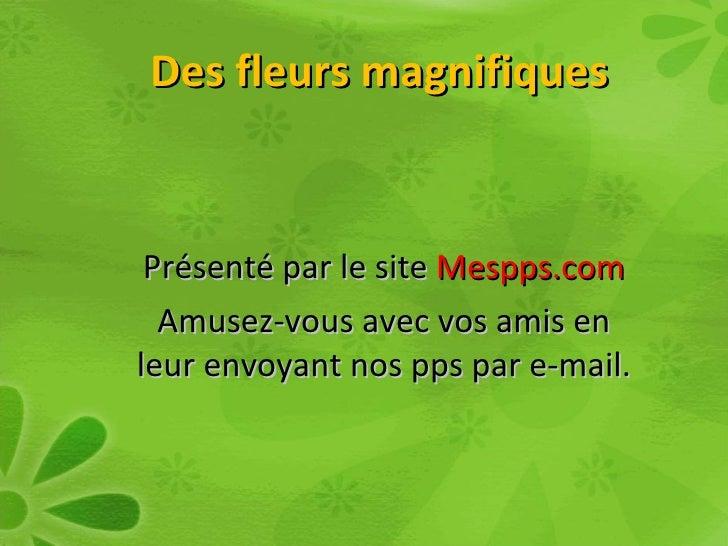 Des fleurs magnifiques    Présenté par le site Mespps.com   Amusez-vous avec vos amis en leur envoyant nos pps par e-mail.
