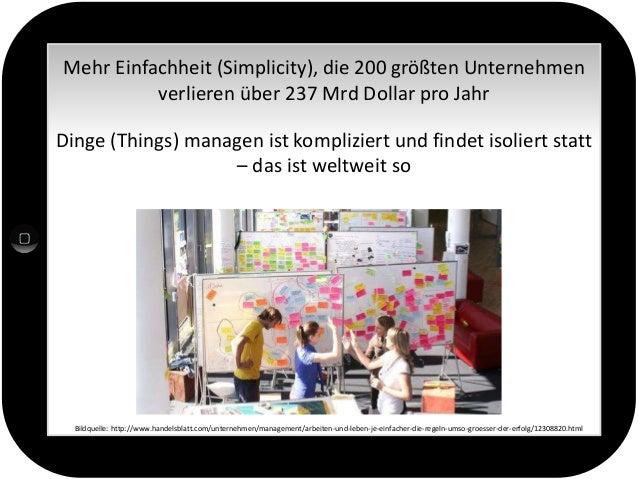 Mehr Einfachheit (Simplicity), die 200 größten Unternehmen verlieren über 237 Mrd Dollar pro Jahr Dinge (Things) managen i...