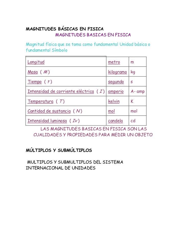 MAGNITUDES BÁSICAS EN FISICA<br />MAGNITUDES BASICAS EN FISICA<br />Magnitud física que se toma como fundamental Unidad bá...