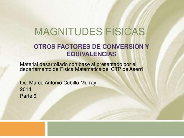 MAGNITUDES FÍSICAS Material desarrollado con base al presentado por el departamento de Física Matemática del CTP de Aserrí...