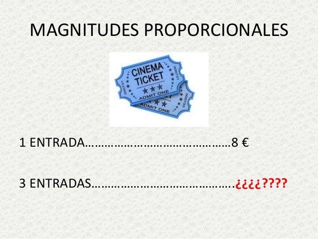 MAGNITUDES PROPORCIONALES  1 ENTRADA………………………………………8 € 3 ENTRADAS……………………………………..¿¿¿¿????