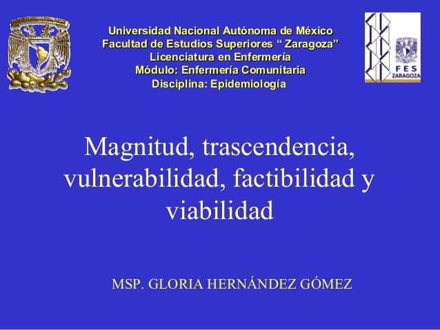 Magnitud, trascendencia, vulnerabilidad, factibilidad y viabilidad MSP. GLORIA HERNÁNDEZ GÓMEZ Universidad Nacional Autóno...