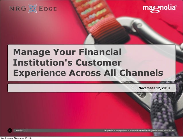 Manage Your Financial Institution's Customer Experience Across All Channels November 12, 2013  1  Version 1.1  Wednesday, ...