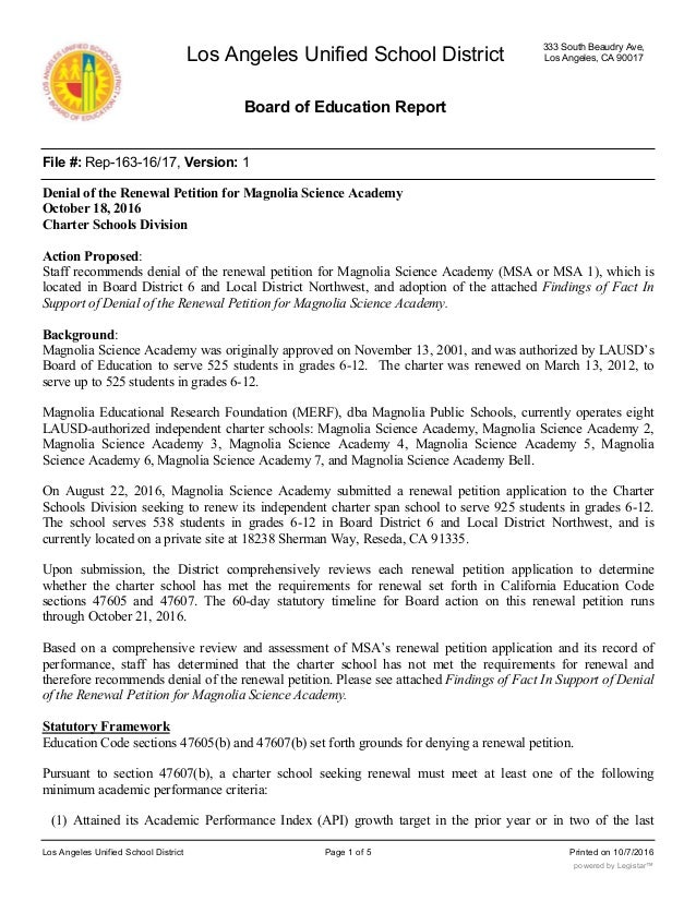 Los Angeles Unified School District Board of Education Report 333 South Beaudry Ave, Los Angeles, CA 90017 File #: Rep-163...