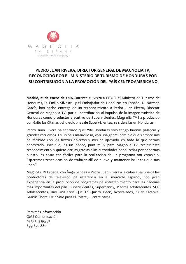 Magnolia recibe un reconocimiento del ministerio de for Ministerio del turismo