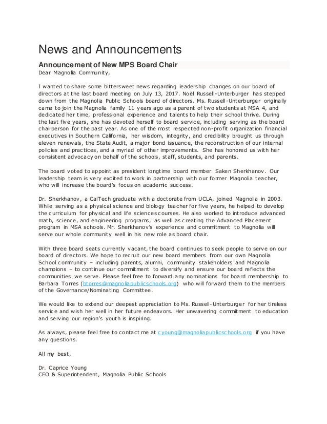 News and Announcements Announcement of New MPS Board Chair Dear Magnolia Community, I wanted to share some bittersweet new...