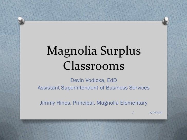 Magnolia Surplus     Classrooms             Devin Vodicka, EdDAssistant Superintendent of Business ServicesJimmy Hines, Pr...
