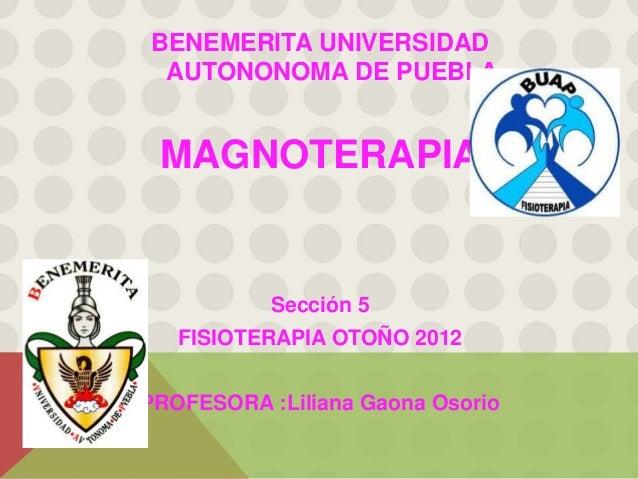 BENEMERITA UNIVERSIDAD AUTONONOMA DE PUEBLA MAGNOTERAPIA           Sección 5   FISIOTERAPIA OTOÑO 2012PROFESORA :Liliana G...